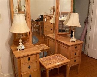 The dressing table and bench to the light bedroom suite.
