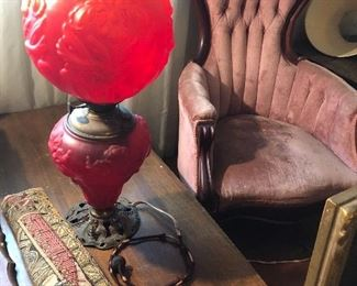 Antique Fenton and mid century coffee table