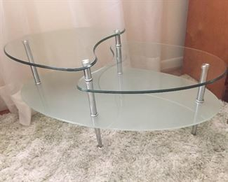Mid-Century Style Chrome and Glass Table.