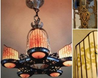 Very rare, and beautiful, chandelier.   Vintage, Art Deco style from the 1920's with a center light and 5, artistically painted, delicate, yet sturdy slip shades, all perfectly in tact.  Beautiful metal work designs also.       From R. Williamson & Co. in Chicago.  (Listed with the name Beardslee added by some.)