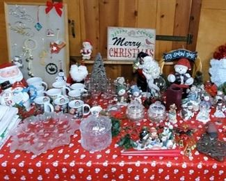 Christmas in July!  Large assortment of Christmas decorations, linens, and tableware.