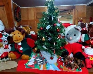 Christmas in July!  Large assortment of Christmas decorations, and stuffed animals.