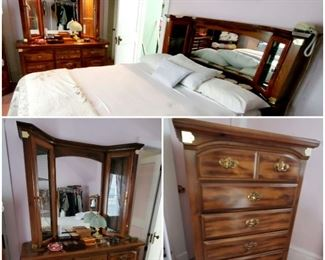 Beautiful, 4 piece wooden bedroom suite with like new mattresses.  Set includes beautiful lighted,   mirrored headboard, base with built-in, under-bed storage, nice, 6-drawer dresser, and a spacious, 8-drawer vanity and gorgeous, lighted, mirror hutch.