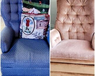 Soft and cozy occasional chairs.  The blue one swivels and rocks.
