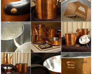 copper cookware collage