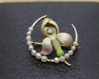 Plique-A-jour Iris Pin With Diamond And Pearls 14kt