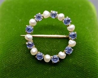 Pearl And Sapphire Pin / Brooch 14kt
