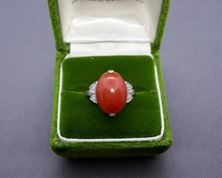 Coral Diamond 14kt And Platinum Ring