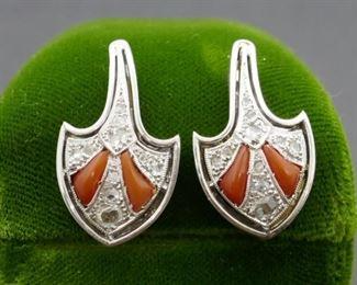 Coral Diamond Earrings Marked 14kt