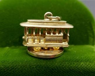 Gold Cable Car Charm 14kt