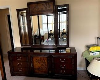 dresser with Oriental bed.  This Bedroom suite is discounted to $1200.00