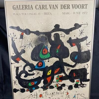Galeria Carl Van Der Voort JOAN MIRO Homenatge a Prats Vintage Abstract Art Framed Original Print Poster