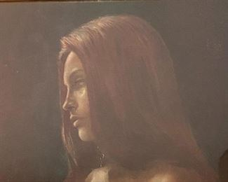 Vintage Framed Topless Nude Woman Art Print Litho