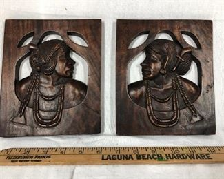 Vintage Carved Wood Native Couple Wall Hangings