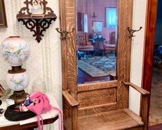 Antique quarter-sawn hall tree/seat, side table with marble top, lamp is SOLD, shelf is SOLD