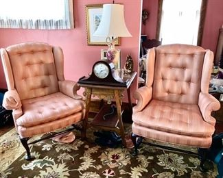 Two wing back chairs, oak side table is SOLD, Sessions mantle clock, hand painted lamp is SOLD