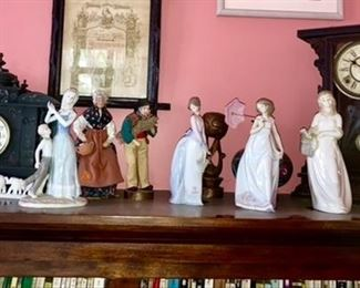 Antique clocks, lladro and other porcelain figurines