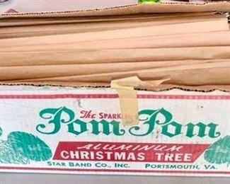 Pom Pom Aluminum Christmas Tree, new old stock in original box!