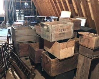 Many antique advertising crates including Gerst