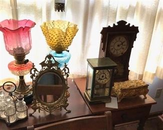 Antique lamps and clocks