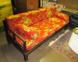 Asian Silk Pair Of Custom Sofa's