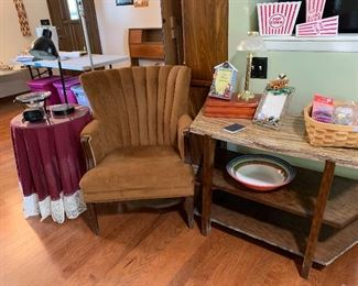 Cute little upholstered side chair, TV stand, round tables, lamps, baskets etc.
