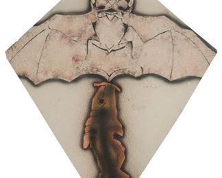 "4 Francisco Toledo 1940-2019, Mexican Bat And Fish Mixed media on paper under Plexiglas Signed center: Toledo Sheet: 25"" H x 19.75"" W Estimate: $2,000 - $3,000"