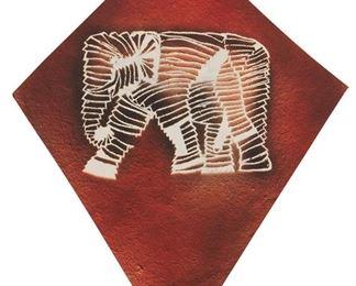 "5 Francisco Toledo 1940-2019, Mexican Elephant Mixed media on paper under Plexiglas Signed center: Toledo Sheet: 25"" H x 19.5"" W Estimate: $2,000 - $3,000"