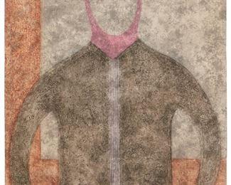 "3 Rufino Tamayo 1899-1991, Mexican ""Personaje En Gris,"" 1980 Etching in colors on Guarro paper under Plexiglas; Ediciones Poligrafa, Barcelona, pub. and prntr. Edition 41/99, signed lower right: R. Tamayo Image/Sheet: 29.5"" H x 21.75"" W Estimate: $2,000 - $3,000"