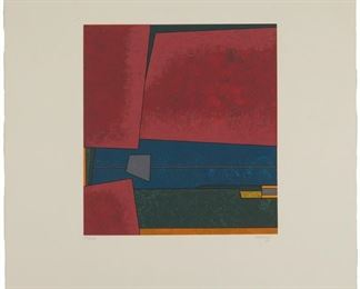 """6 Gunther Gerzso 1915-2000, Mexico City, Mexico Untitled,1980 Color lithograph on paper under glass Edition: 83/100, signed and dated lower margin at right: Gerzso, an unidentified chop mark lower margin at left Image: 13.5"""" H x 12.25"""" W; Sheet: 26.75"""" H x 22"""" W Estimate: $800 - $1,200"""