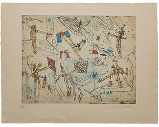 """9 Roberto Matta 1911-2002, Chilean """"The Moon Catcher,"""" 1960 Color etching and aquatint on paper under glass Edition 33/50, signed and numbered in pencil lower margin: Matta Image: 14.5"""" H x 18.75"""" W; Sheet: 19.75"""" H x 25.75"""" W Estimate: $500 - $800"""