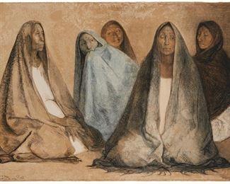"13 Francisco Zúñiga 1912-1998, Mexican ""Grupo De Mujeres Sentadas, II,"" 1976 Color lithograph on paper under Plexiglas; Kyron Press, Mexico City, prntr. Edition: 'Bon a Tirer,' signed and dated lower left: Zuniga and 'Agosto 10 de 1976' Image/Sheet: 24.75"" H x 35.75"" W Estimate: $600 - $800"