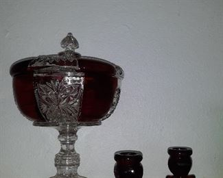 Covered candy dish set of red candlestick holders