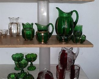 Ruby red glass and green emerald glass