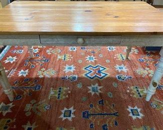 Farm table/ vintage wool rug