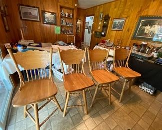 Four Available Oak  Bar Stools or Chair Height Swivel Chairs