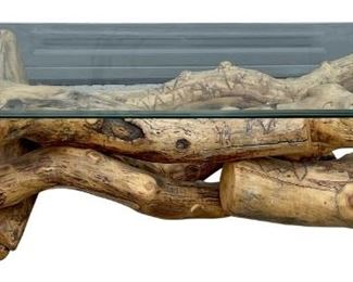 Natural Log Coffee Table With Glass Top (As Is)