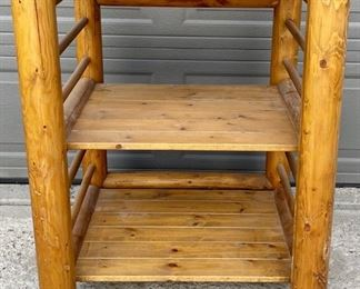 Three Tier Solid Log Pine Table With Removable Top - Becomes A Chair