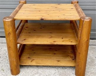 Two Tier Solid Pine Log Table With Removable Top - Converts To Chair