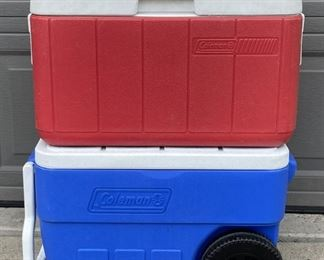 Red & Blue Coleman Coolers - One On Wheels
