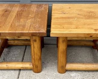 Two Small Solid Pine Log Tables