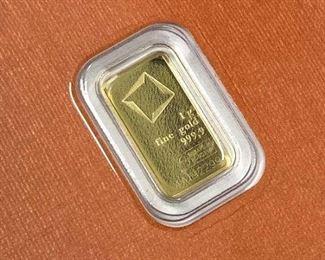 1 Gram Gold Bar, Valcambi Suisse Carded 999.9