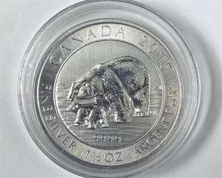 1.5oz Silver Polar Bear Thick, Canada .9999