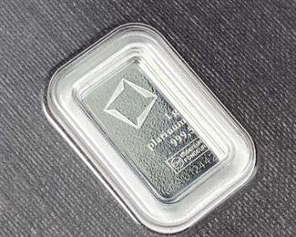 1 Gram Platinum Bar, Valcambi Suisse Carded 999.5
