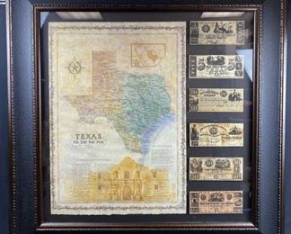 Framed State of Texas w/ REPLICA Notes