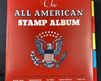 All American Stamp Album Full of Rare Stamps