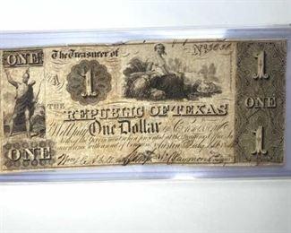 1841 Republic of Texas $1 Bill