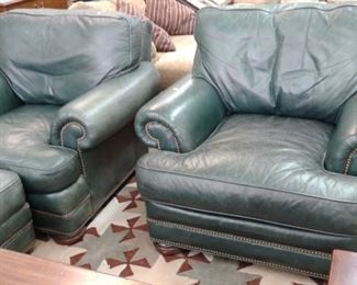 Two Green Leather Chairs and one Ottoman , Whittemore-Sherrill   Set 500.00