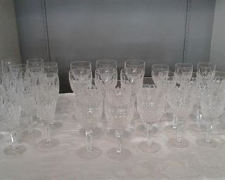 Waterford Crystal Colleen  pattern long stem Water, Wine, Champagne glasses. Total 36 glasses. 12 of each. $2160.00 . Red wine/water glasses 7 1/2 tall  White wine 6.5 tall. Champagne 7.1/2 tall