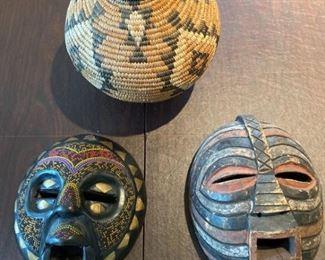 African Masks and Basket